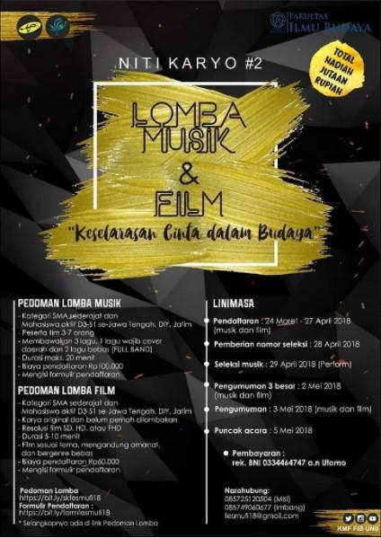 Lomba Musik & Film NITI KARYO #2 Pelajar & Mahasiswa 2018 UNS