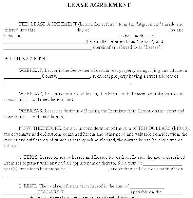Lease Agreement Format India – Basic Rental Agreement Letter Template