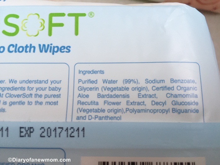 Ingredients of CloverSoft Organic Wipes