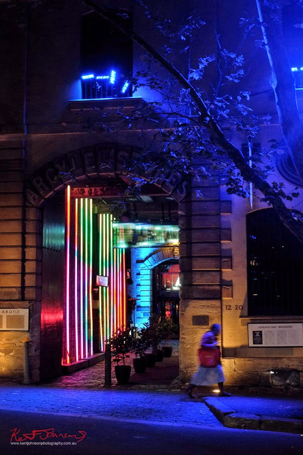 I'm not sure if this light display is part of Vivid Sydney or just something going on in The Argyle, the screen in the top of the arch was displaying TRON as in the movie etc; so maybe yes maybe not.