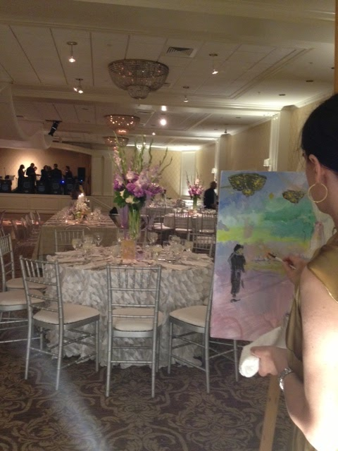 Patricia Bennett Fine Art Painter  Wedding Painting at the Woodholme     Patricia Bennett beginning the wedding painting at the Woodholme Country  Club  photo by Fleur de lis