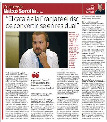 Ignacio Sorolla Vidal, Natxo Sorolla Vidal, Penarroija de Tastavins, català, franja, perill