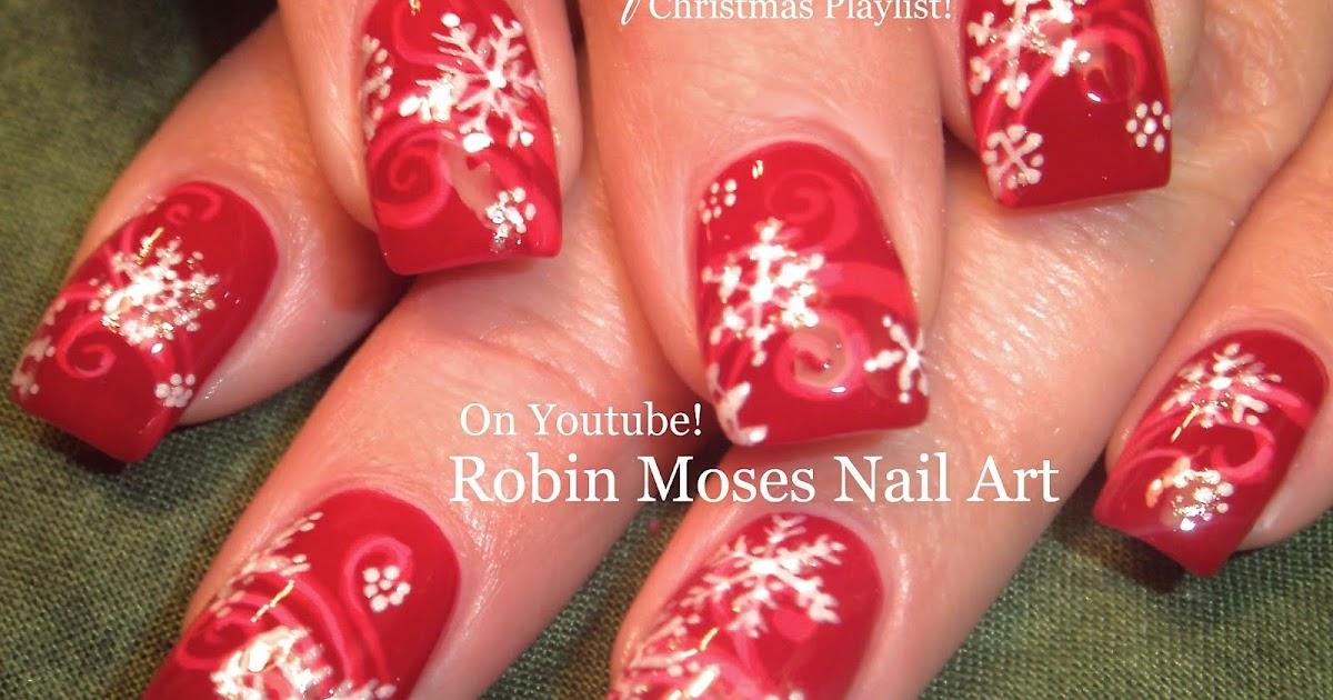 Nail Art By Robin Moses Snowflake Nails Red Christmas Design Ideas White Snowflakes