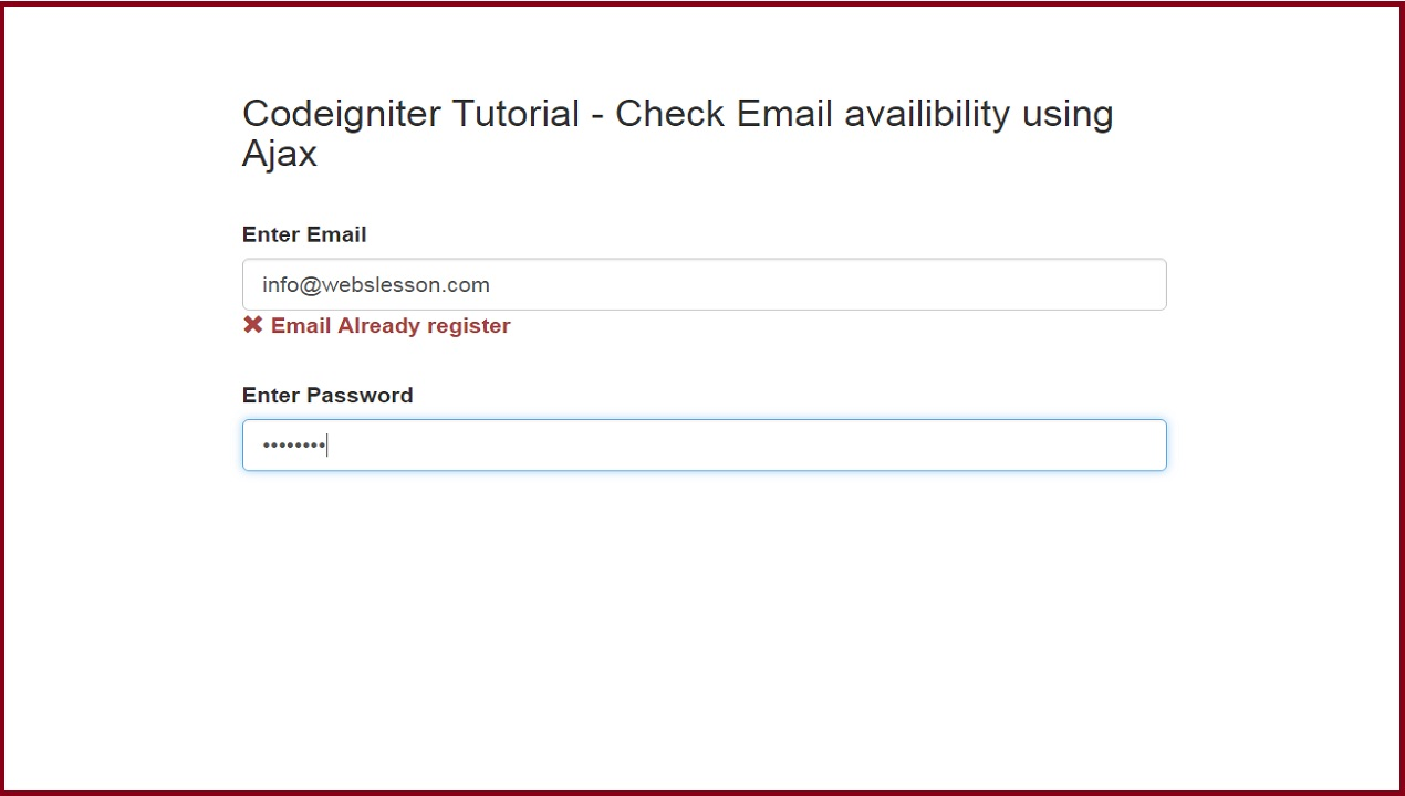 Codeigniter tutorial check email availability using ajax so this way whole cycle of codeigniter framework will run for checking email register or not by using ajax with jquery baditri Choice Image