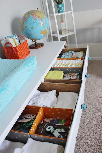 organizing nursery dresser drawers