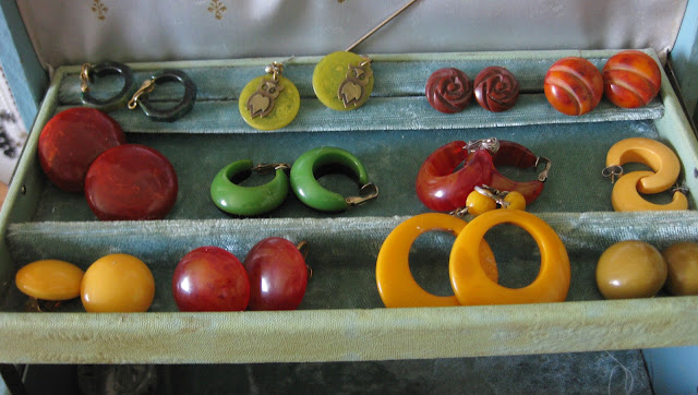 bakelite earring collection from Va-Voom Vintage