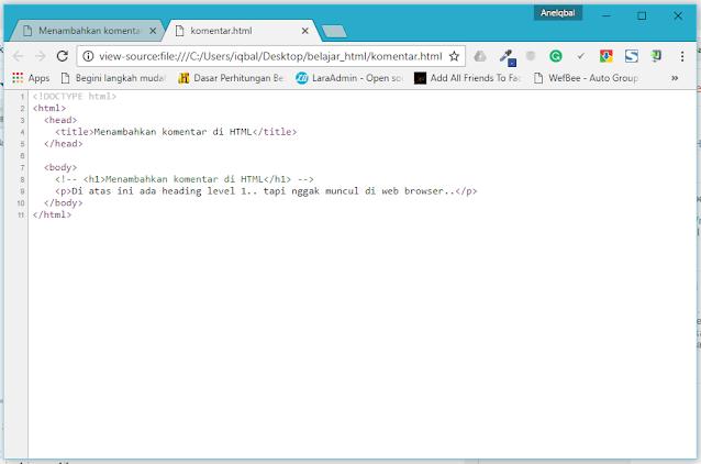 Tutorial HTML untuk Pemula: Menambahkan Komentar di HTML