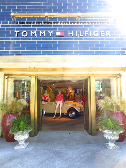 Store exterior Tommy Hilfiger West Hollywood Los Angeles brass doorway retail clothing fashion