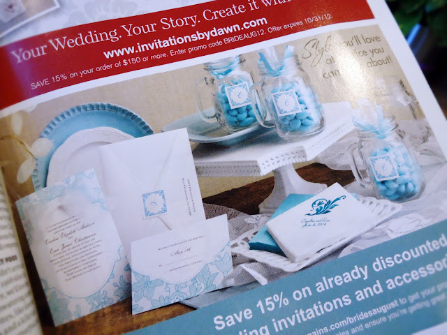 Brides Magazine: Wedding stationery by Ann's Bridal Bargains.