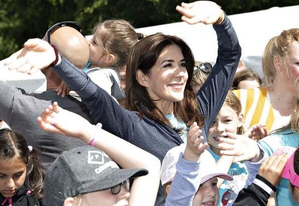 Crown Princess Mary attended the Free from Bullying Children's Relay Race 2019 event held at Fælledparken in Copenhagen