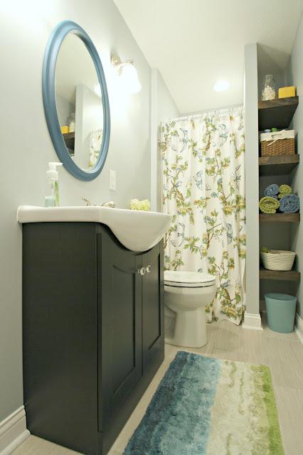 bright basement bathroom