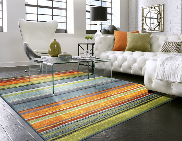Home New Wave Rainbow Striped Printed Area Rug, 5'x8', Multicolor