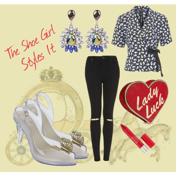 Polyvore set of high street outfit for Melissa Disney Cinderella Lady Dragon shoes