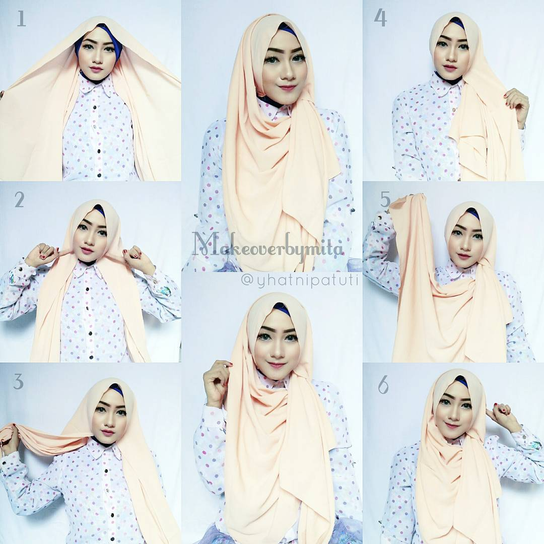 21 Gambar Terbaru Tutorial Hijab Pesta Kain Satin 2017 Tutorial