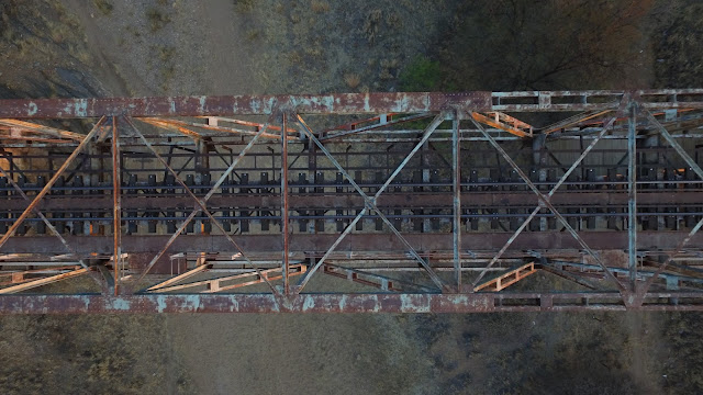 Namibia: aerial view of old railway bridge near Windhoek
