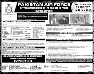 commission in Pakistan air force 2018