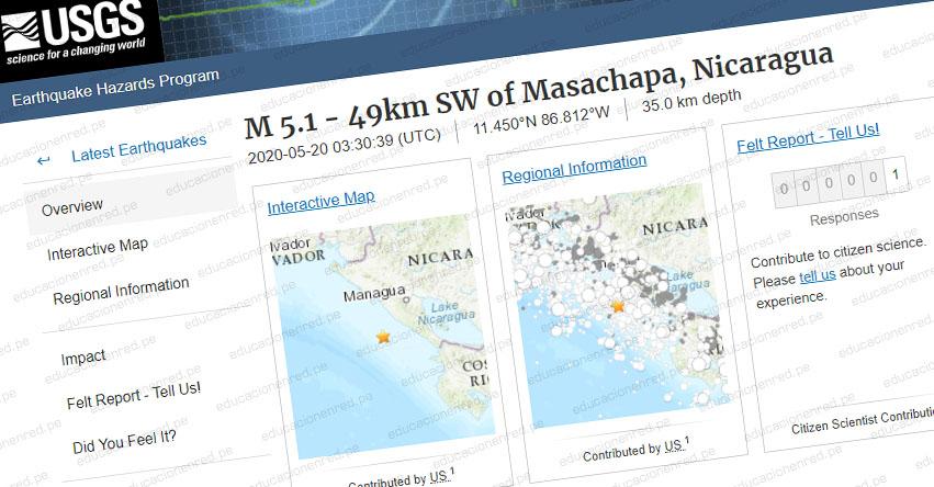 FUERTE SISMO en Nicaragua de Magnitud 5.1 (Hoy Martes 19 Mayo 2020) Temblor EPICENTRO en Managua - León - Carazo - En Vivo Twitter - Facebook - USGS
