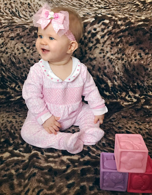 JoJo Maman Bebe, pink smocked sleepsuit, Darcie, baby girl, building blocks