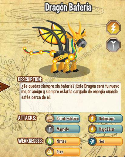 imagen del dragon bateria y sus caracteristicas