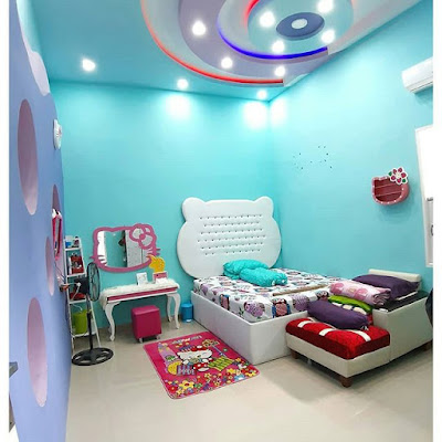 Dekorasi kamar Tidur Warna Biru