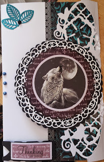Thinking of You - with love Wolf card from Pollyanna Pickering cardmaking kit