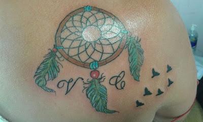 Tatuaje de atrapa sueños a color con plumas y iniciales