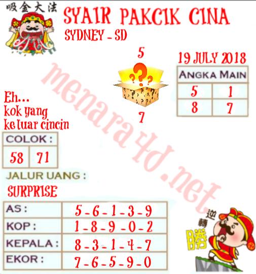 Code Syair HK 19-07-2018