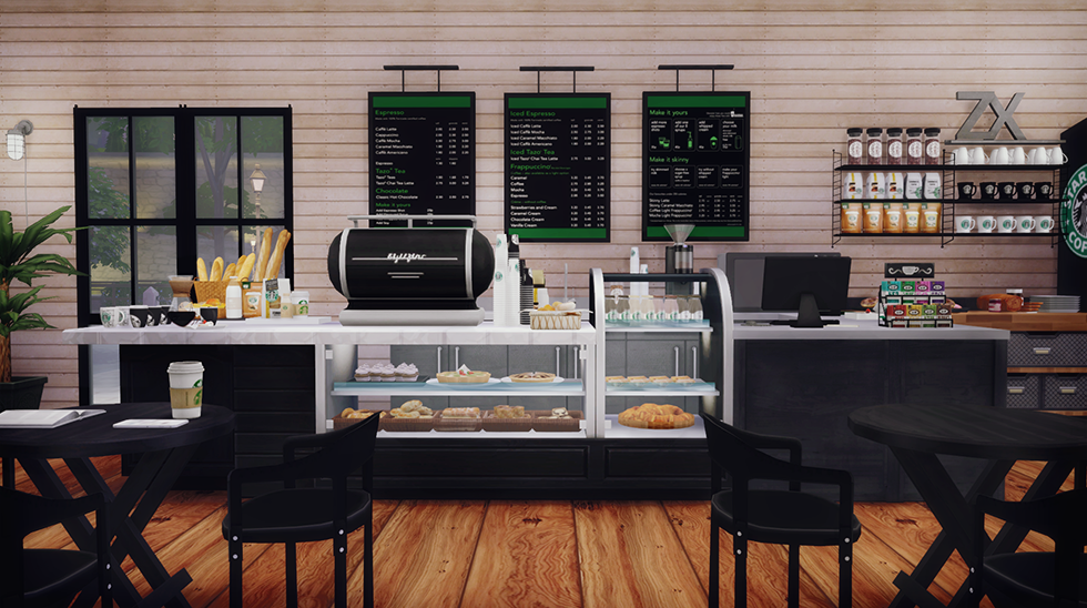 My sims 4 blog starbucks coffee shop lot and objects by for Furniture u save a lot