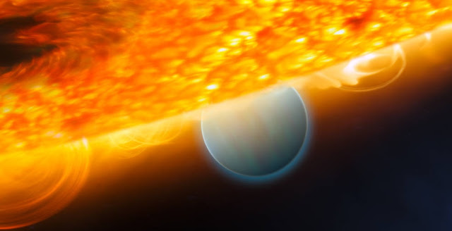 "This is an artist's impression of the Jupiter-size extrasolar planet, HD 189733b, being eclipsed by its parent star. Astronomers using the Hubble Space Telescope have measured carbon dioxide and carbon monoxide in the planet's atmosphere. The planet is a ""hot Jupiter,"" which is so close to its star that it completes an orbit in only 2.2 days. The planet is too hot for life as we know it. But under the right conditions, on a more Earth-like world, carbon dioxide can indicate the presence of extraterrestrial life. This observation demonstrates that chemical biotracers can be detected by space telescope observations. Credits: ESA, NASA, M. Kornmesser (ESA/Hubble), and STScI"
