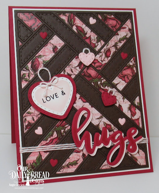 ODBD Hugs Stamp/Die Duos, ODBD Custom Quilted Background Die, ODBD Custom Mini Stitched Hearts Dies, ODBD Custom Umbrellas Dies, Card Designer Angie Crockett