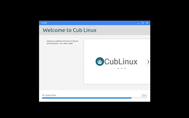 Cub Linux installation in progress