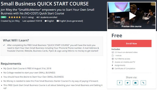 [100% Free] Small Business QUICK START COURSE