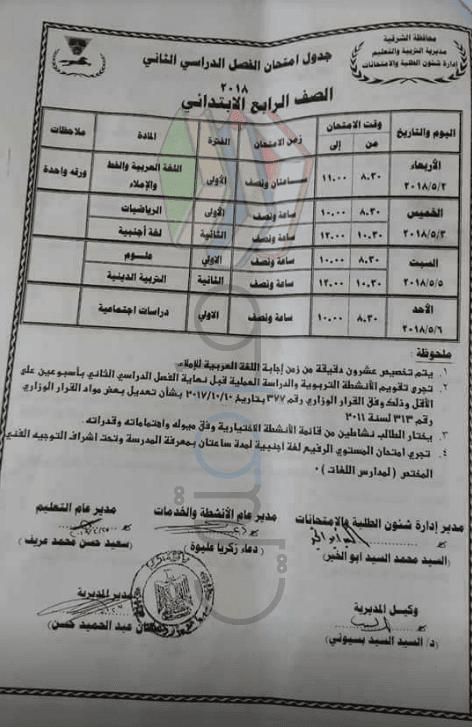 جدول امتحانات الصف الرابع الابتدائي الترم الثاني 2018 محافظة الشرقية