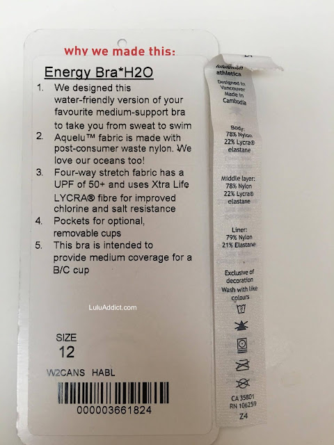 lululemon  H20-Energy-bra-tag