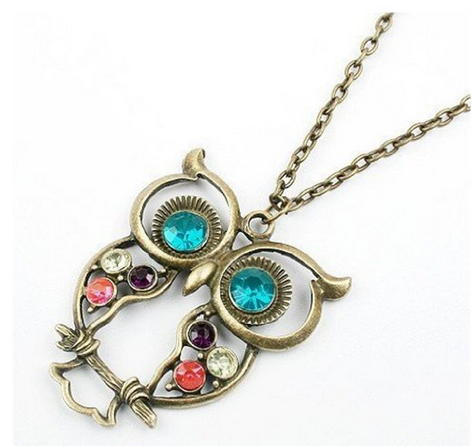 A Dime At a Time: Vintage, Retro Colorful Crystal Owl Pendant and Chain ONLY $0.89 Shipped