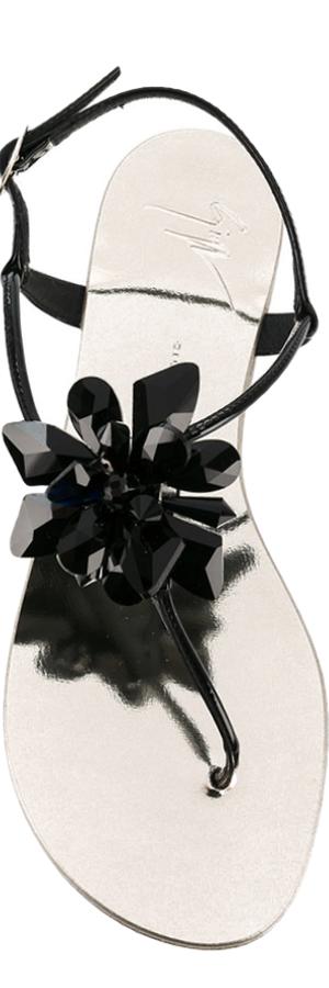GIUSEPPE ZANOTTI DESIGN Letizia Crystal Flower Sandals