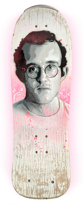 Skateboard artwork of Keith Haring by artist James Straffon