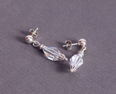Clear Crystal & Sterling Silver Post Drop Earrings