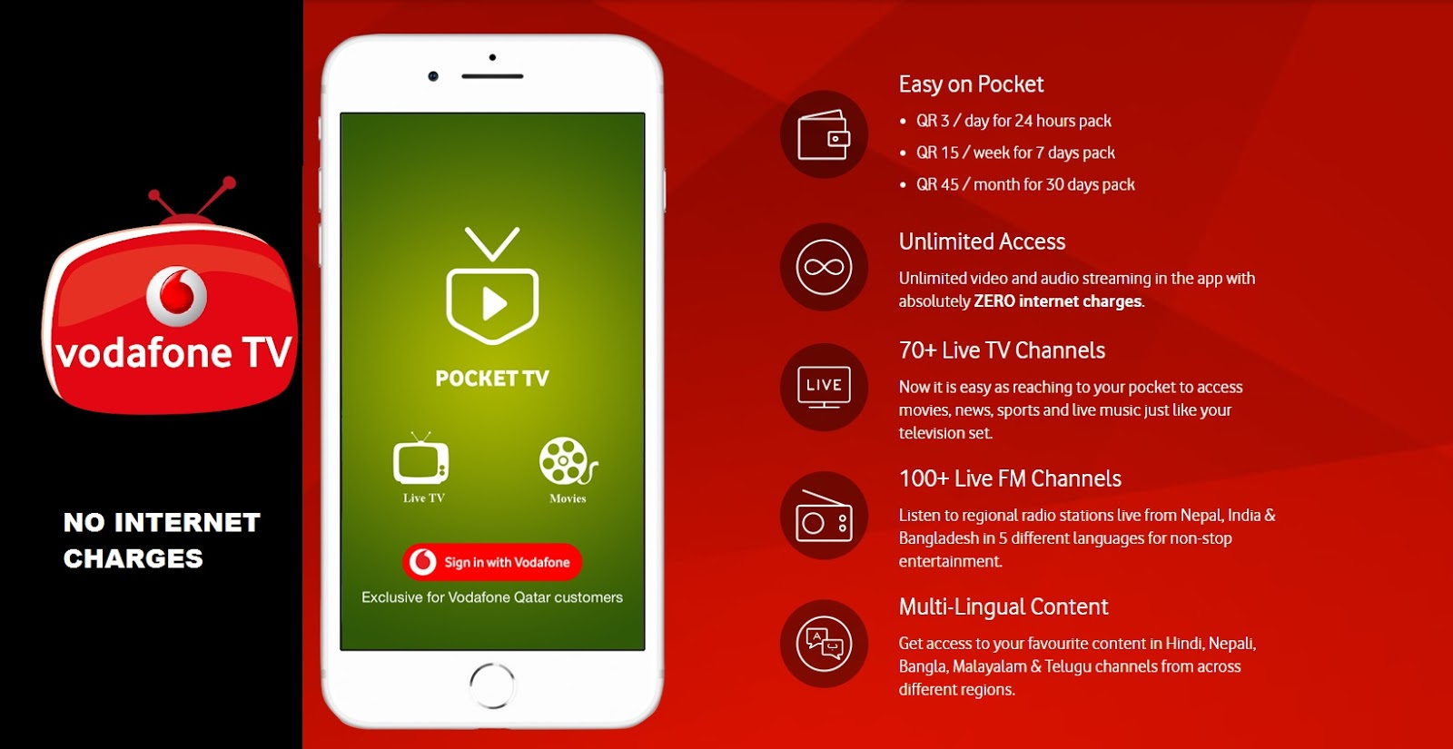 Vodafone Launches Pocket TV with No Internet Charges