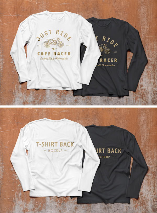 Free Long Sleeves T-shirts Mock-up PSD and CDR Files