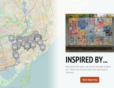 A map of Toronto's east end, with icons indicating areas where content has been geotagged. A caption reads Inspired By, how does the space we travel through inspire us? These are stories from the east end of Toronto, start exploring.