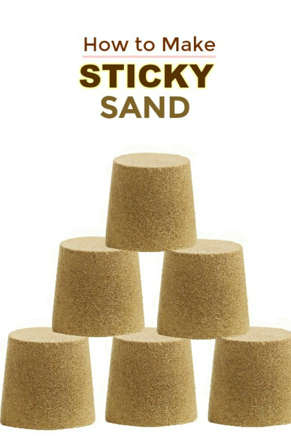 STICKY SAND: mold-able play sand made with only 2 ingredients! All the fun of sand without the mess. #sandboxideas #playrecipesforkids #playrecipe #stickysand #sandrecipe