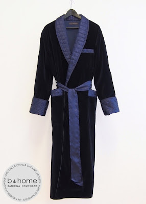 Classic mens navy blue dressing gown velvet silk quilted shawl collar luxury bespoke long robe english style gentleman