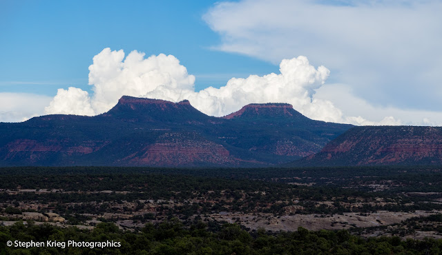 Monsoon season thunderhead clouds over Bears Ears Buttes, Utah.