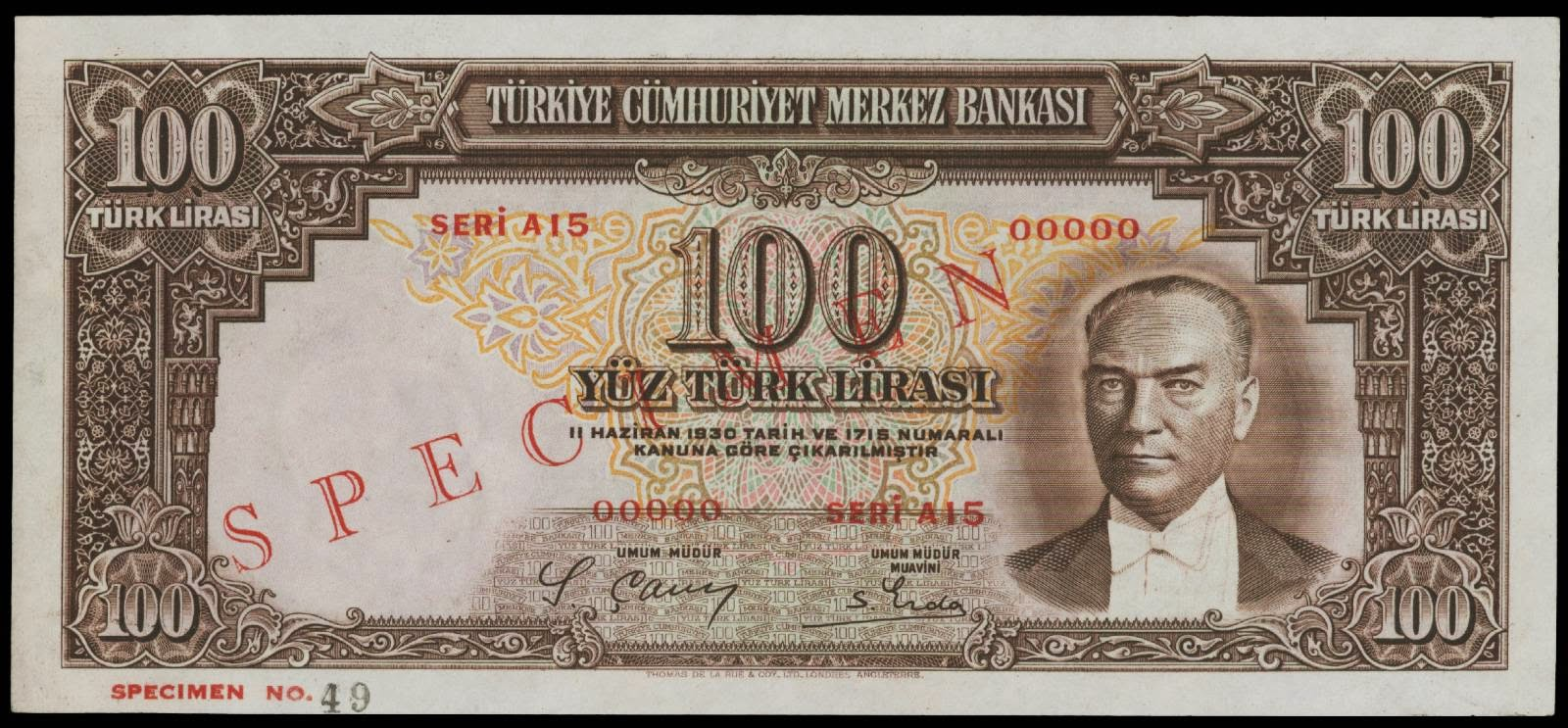 Banknotes of Turkey 100 Turkish Lira banknote 1930 Atatürk