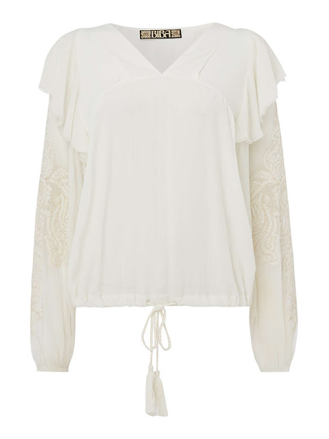 Biba embroidered sleeve boho top