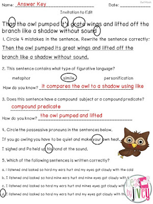 Owl Moon Mentor Sentence Lesson With Ideas by Jivey.