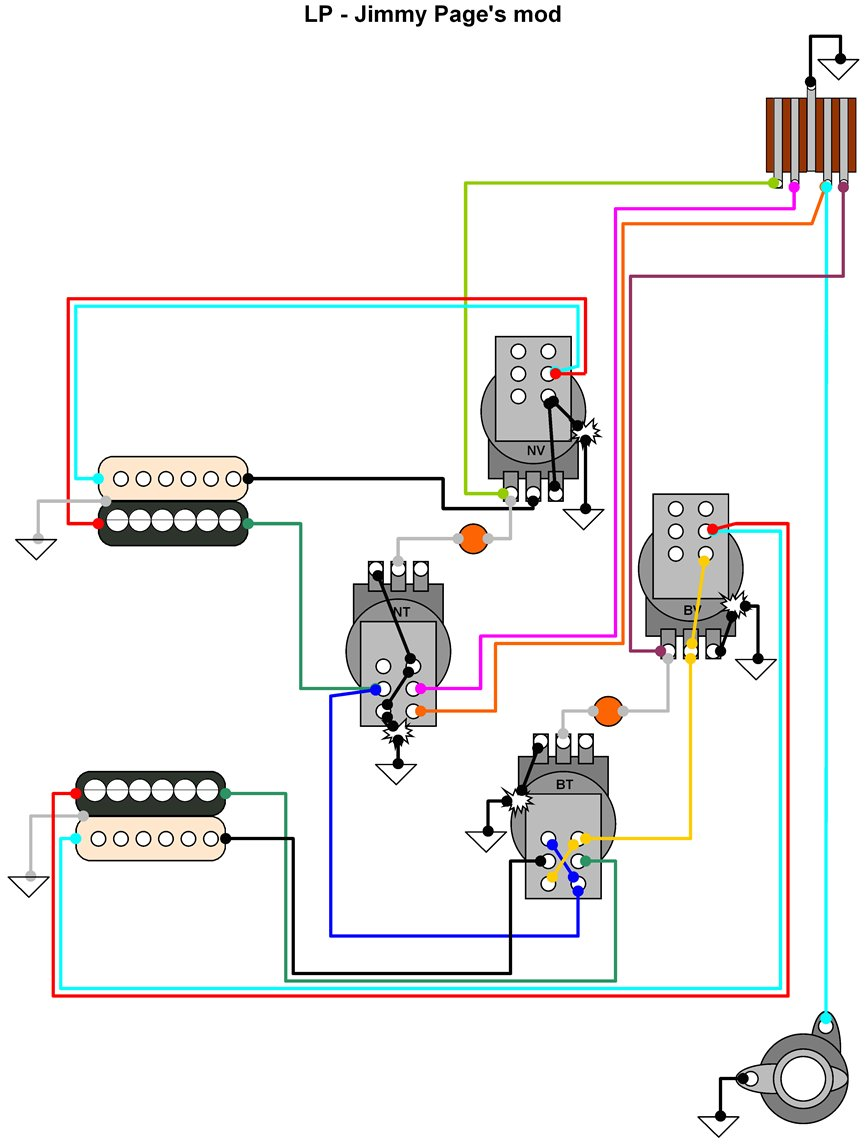 Hermetico Guitar: Wiring Diagram: Jimmy Page's mod