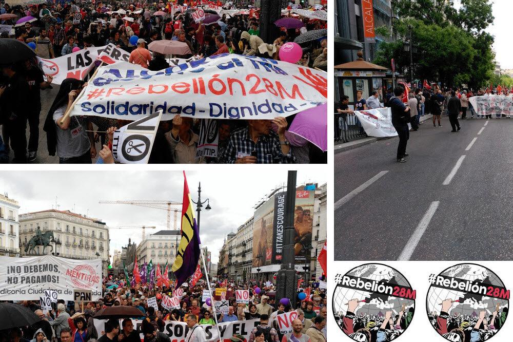 La izquierda política y social confluye en las calles de Madrid antes de las elecciones