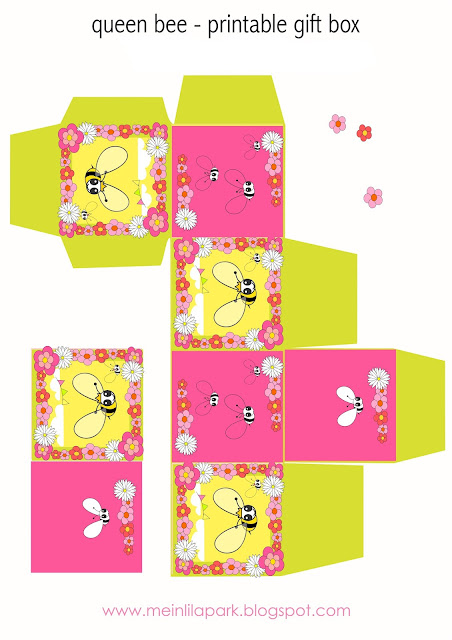 Free digital bee scrapbooking paper + box template - Geschenkpapier - freebie